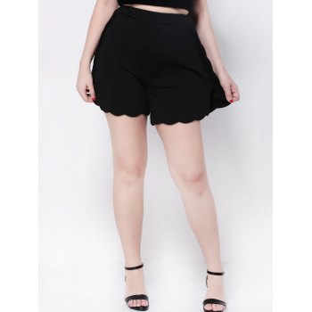 Scalloped High Waist Wide-Leg Shorts - BLACK 5XL