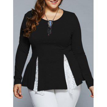 Plus Size Lace Insert Asymmetrical Blouse - BLACK 2XL