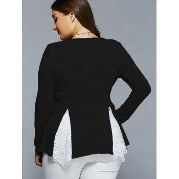 Plus Size Lace Insert Asymmetrical Blouse - 2XL 2XL