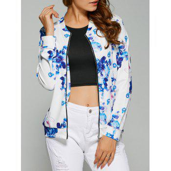 Zipper Design Floral Print Jacket