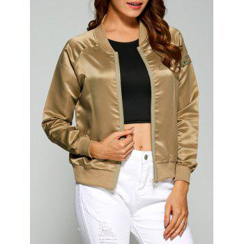 Zippered Satin Bomber Jacket