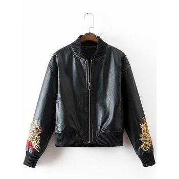 PU Souvenir Jacket with Flower Embroidery