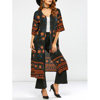Round Neck Retro Print Duster Coat