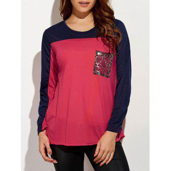Sequin Long Sleeve Color Block T-Shirt - RED RED