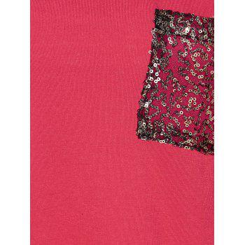 T-shirt color block avec motif pailleté - Rouge S