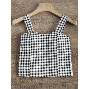 Straps Checked Padded Cropped Tank Top