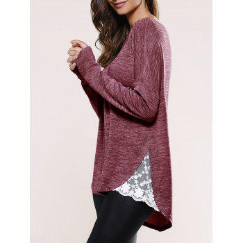 Lace Insert Asymmetric Pullover Long Sleeve Sweater