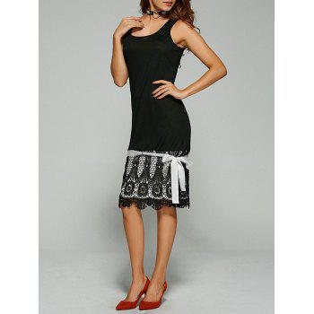 Buy Lace Trim Bowknot Embellished Tank Dress BLACK