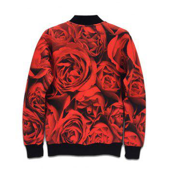 Stand Collar 3D Rose Skull Design Printed Jacket - BLACK L