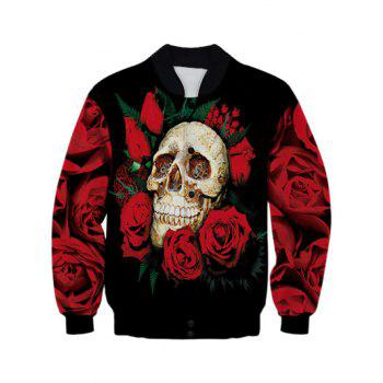 Stand Collar 3D Rose Skull Design Printed Jacket