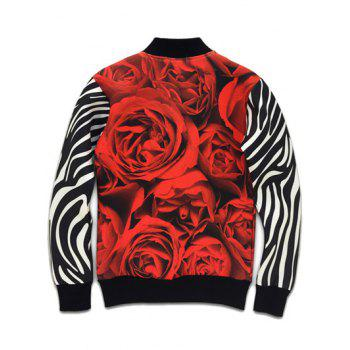 Stand Collar Rose Women Print Zebra Stripe Sleeve Jacket - BLACK BLACK