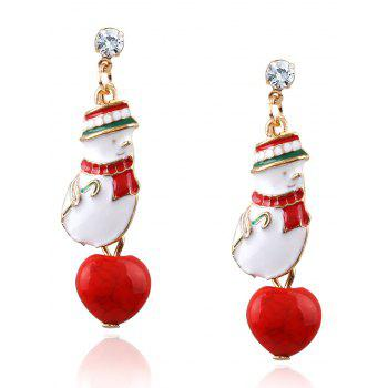 Rhinestone Christmas Snowman Earrings
