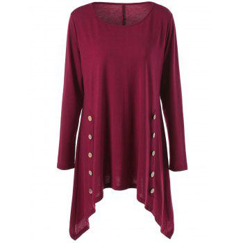 Long Sleeve Plus Size Double-Breasted Asymmetrical T-Shirt
