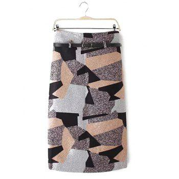 Geometry Patchwork Skirt with Belt