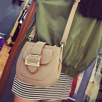 Magnetic Closure PU Leather Buckle Crossbody Bag - LIGHT BROWN