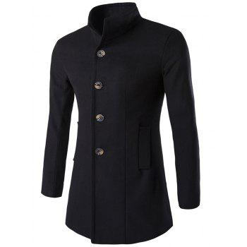 Long Sleeves Woolen Blend Single-Breasted Coat - BLACK 2XL