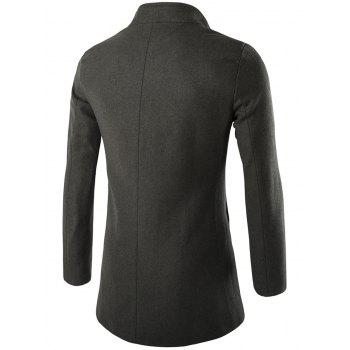 Long Sleeves Woolen Blend Single-Breasted Coat - 2XL 2XL