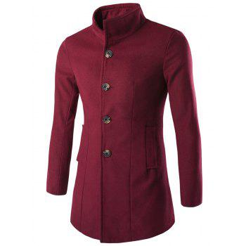 Long Sleeves Woolen Blend Single-Breasted Coat - WINE RED 3XL