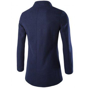 Long Sleeves Woolen Blend Single-Breasted Coat - CADETBLUE 3XL