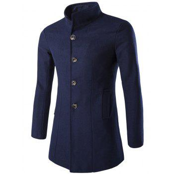 Long Sleeves Woolen Blend Single-Breasted Coat - CADETBLUE 2XL