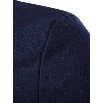 Long Sleeves Woolen Blend Single-Breasted Coat - CADETBLUE XL