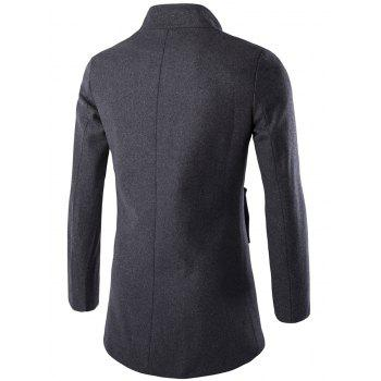 Long Sleeves Woolen Blend Single-Breasted Coat - GRAY GRAY