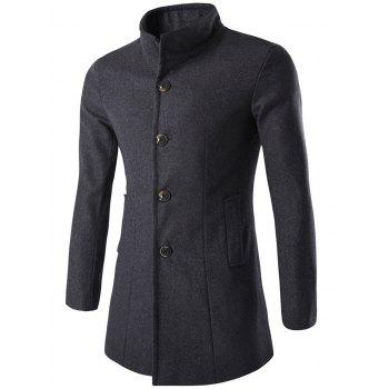 Long Sleeves Woolen Blend Single-Breasted Coat - GRAY XL
