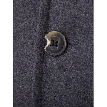 Long Sleeves Woolen Blend Single-Breasted Coat - GRAY M