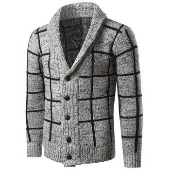 Grid Pattern Turn Down Collar Single-Breasted Cardigan