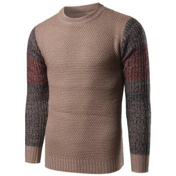 Color Block Splicing Crew Neck Knitted Sweater