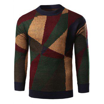 Color Block Geometric Print Knitted Sweater
