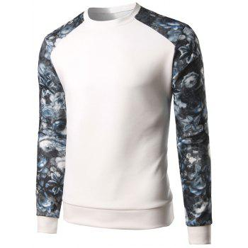 Spliced Color Block Floral Print Long Sleeve Sweatshirt