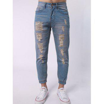 Zipper Fly Distressed Jogger Jeans