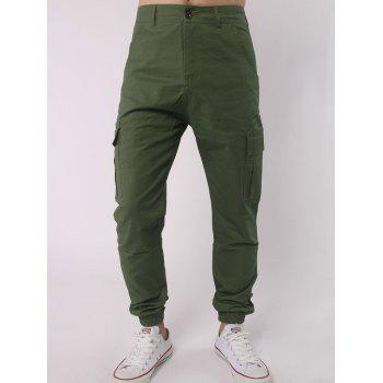 Zipper Fly Multi Pocket Beam Feet Jogger Pants