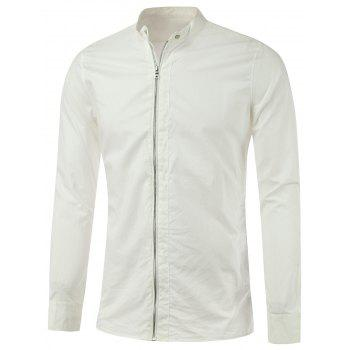 Zipper-Up Stand Collar Lightweight Jacket - WHITE M