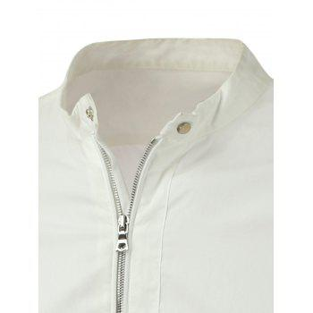 Zipper-Up Stand Collar Lightweight Jacket - M M