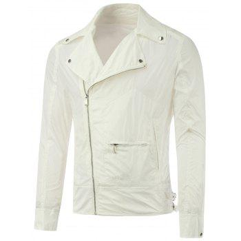 Diagonal Zipper Asymmetric Pocket Lapel Jacket - WHITE WHITE
