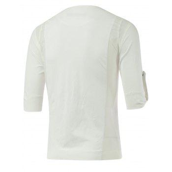 Half Sleeve Side Zipper Up Tee - WHITE XL