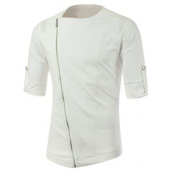 Half Sleeve Side Zipper Up Tee - WHITE WHITE