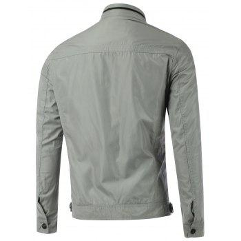 Zipper Pocket Stand Collar Splicing Jacket - GRAY GRAY