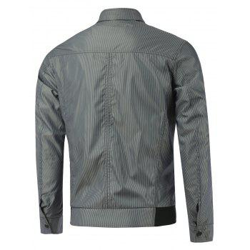 Multi Pocket Stand Collar Rib Spliced Striped Jacket - GRAY L