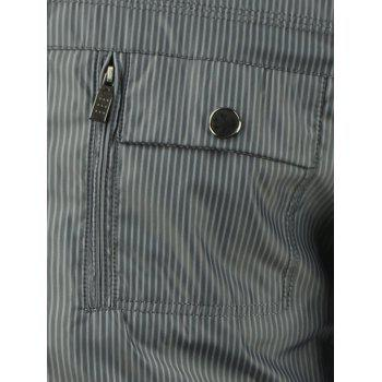 Multi Pocket Stand Collar Rib Spliced Striped Jacket - GRAY GRAY