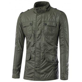 Multi Pocket Stand Collar Epaulet Design Jacket - SAGE GREEN L