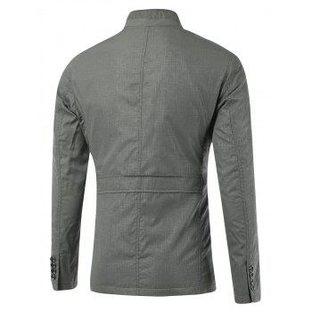 Slim-Fit Stand Collar Zipper Button Design Jacket - GRAY GRAY