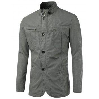 Slim-Fit Stand Collar Zipper Button Design Jacket - GRAY L