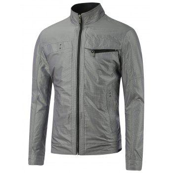 Stand Collar Small Grid Zipper Embellished Jacket - GRAY GRAY
