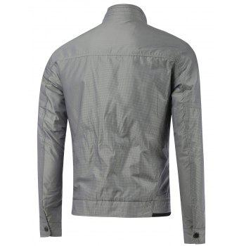 Stand Collar Small Grid Zipper Embellished Jacket - GRAY L