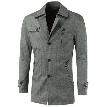 Slim-Fit Turn-Down Collar Button Up Spliced Jacket