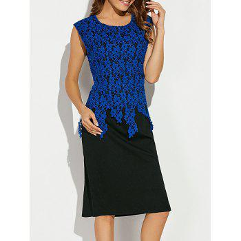 Sleeveless Lace Applique Slimming Dress - BLUE S