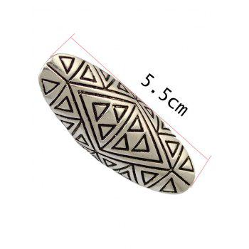 Trendy Emboss Triangle Oval Finger Ring - SILVER